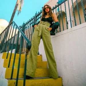 Revolve Green Paper-bag Trousers
